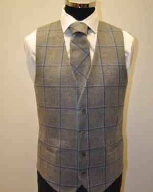 Charcoal & Blue Waistcoat and Matching Tie