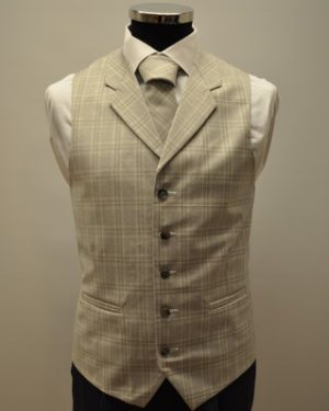 Silver Checkmate Waistcoat and Matching Tie