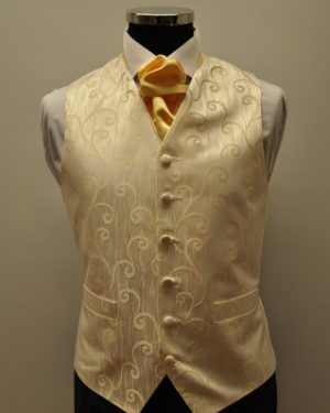 Gold Firenze Waistcoat and Lemon Scrunch Tie